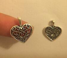 10 Heart Charms Pendentifs Antique Tibétain Argent Fabrication de Bijoux Vente en Gros L60