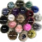 "15cm 6"" 100% Real Raccoon Fur Pom Pom Ball w Snap Button DIY Beanie Hat Keyring"