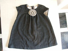 Zara Baby 24-36 Months Adorable Baby Girl Grey Dress with Crochet Flower So Cute