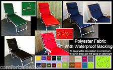 ZIPPY DELUX SUNBED LOUNGER CUSHION WATERPROOF POLYESTER FABRIC GARDEN FURNITURE