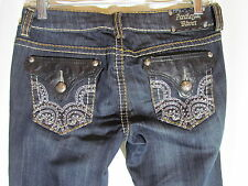 Antique Rivet Black Cropped Jeans Size 27 Faux Leather Pocket Silver Embroidery