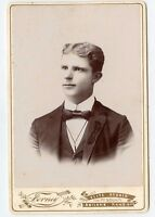 Cabinet Photo - Abilene, Kansas-Forney Studio- Handsome Young Man, Beaded Jacket