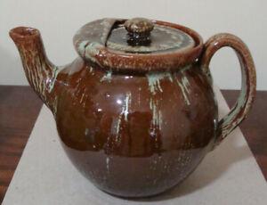 Vintage Green & Brown Glazed Signed  Cole Sanford NC Art Pottery Teapot & Lid