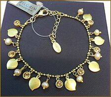 NEW PILGRIM 16K GOLD PLATED CHAIN BRACELET PEARLS & SWAROVSKI CRYSTALS DELICATE