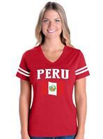 Peru  Womens V-Neck Fine Jersey Tee