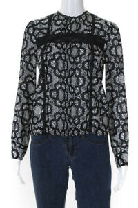 Alice + Olivia Womens Silk Printed Pleated Lace Accent Top Black White Size XS