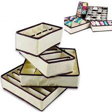 1Set Of 4 Pcs Foldable Organizer Storage Box For Bra Ties Underwear Socks