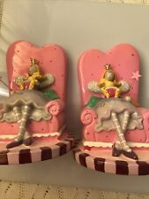 Set Of Girl's Or Baby Girl Ceramic Book Ends- Mom & Baby On Pink Chair