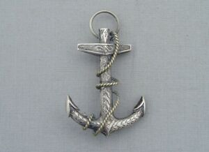 ANTIQUE VICTORIAN SOLID SILVER ANCHOR & ROPE BROOCH ENGRAVED DECORATION