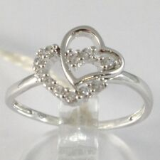 BAGUE EN OR BLANC 750 18K, DOUBLE COEUR AVEC ZIRCONIA, MADE IN ITALY