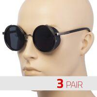 3 PAIR Studio Cover Metal Frame Side Shield Round Fashi Vintage Sunglasses Black