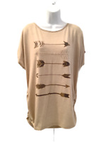 SJS Womens Ruched Top T Shirt Arrows Feathers Oatmeal Brown Gold 2X