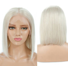 """AU 12"""" Handtied Bob Straight Lightest Blonde Lace Front Wig Heat Resistant Hair"""