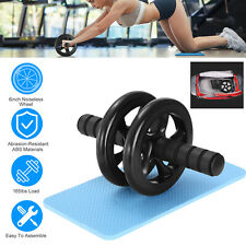 Ab Roller Wheel Abdominal Fitness Gym Exercise Core Workout Training W/ Knee Pad