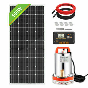12V Solar Submersible Deep Well Water Pump Tank Well Sewerage + Solar Panel Kits