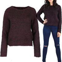 Womens Ladies Fluffy All Over Eyelash Fur Marl Knit Knitwear Pullover Jumper Top