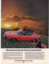 1974 Renault Gordini Coupe Convertible Vintage Print Ad Sunset Picnic Flowers
