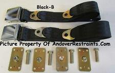 Mustang Seat Belt Vintage Lap Seat Belts (2) With Retrofit Kit: Select Color