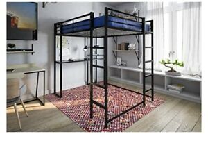 Full Size Metal Loft Bed With Desk And brand New  Memory Foam Mattress