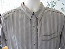 prAna Embroidered Tan Stripe Snap Buttons Button Front Shirt L Large Soft