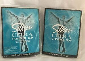 Silkies Ultra Control Top Pantyhose Mocha Ultra Sheer Legs 030303 Size L 2 Pair
