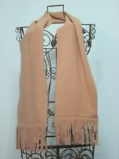 """SOLID CAMEL COLORED FLEECE SCARF WITH FRINGE 8"""" X 66"""" - MORE COLORS AVAILABLE"""