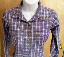 Wrangler Wrancher Purple PLAID Western Shirt Women's SMALL Metallic Accents EUC