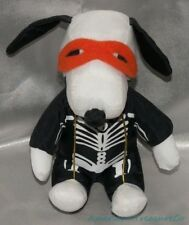 "Retired PEANUTS Plush Nylon 7"" HALLOWEEN SKELETON SNOOPY Puppy Dog w/Mask"