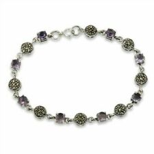 Marcasite and Amethyst Sterling Silver Bracelet