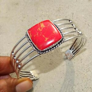 925 Silver Plated Red Copper Turquoise Bangle Cuff Bracelet Jewelry JAN03120-6