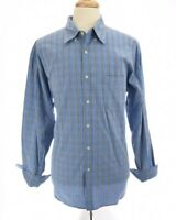 J Crew Mens Button Up Front Shirt B. Down Collar Tartan Plaid Print Blue Sz XL