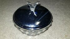 Vintage Mid Century Glass Mint Candy Nut Covered Dish Metal Lid Pressed Glass