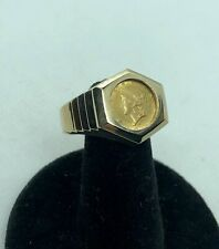 22kt. $1 Gold Coin In Solid 14kt. Gold Ring