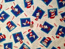 Dr Suess Cat in the Hat Blue & White Novelty Quilt Fabric Fat Quarter FQ FQs