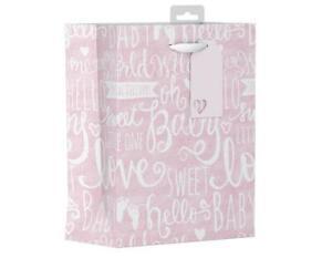 Girls Pink Baby Shower Gift Bag Medium Love Sweet Baby Hello Mum To Be Luxury