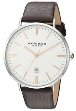 Akribos XXIV Men's Classic Textured Dial and Brown Leather Watch