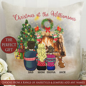 Personalised Family Christmas At Cartoon Photo Cushion Any Name Hair Jumper Gift