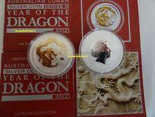 Australien Lunar II 1 $ 2012 Gilded DRAGON 1 Oz .999 Silber/ Gold * SELTEN *