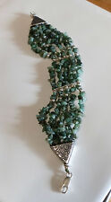 Natural earth-mined emerald bracelet with sterling silver clasp...127.5 carats