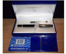 WATERMAN  MAN 200 BLACK FOUNTAIN PEN 18K GOLD BROAD OBLIQUE  PT NIB NEW IN BOX