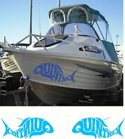 Quintrex Fish, Fishing, Boat, Mirrored Sticker Decal Set of 2