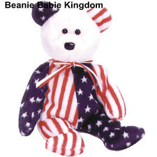 TY BEANIE BABY BABIE SPANGLE (WHITE HEAD) AMERICAN STARS AND STRIPES TEDDY BEAR