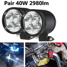 One Pair 40W DC12-80V 4LED White Motorcycle ATV Headlights Spot Lamps Switch Kit