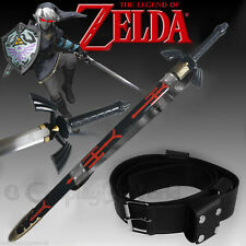 Dark Shadow Link Zelda Hylian Twilight Princess Master Black Sword, Leather Belt