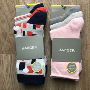 2x 3 Pairs JAEGER Socks Sets BNWT UK4-8/US5-9/EU37-42 Navy Grey Orange White Pnk