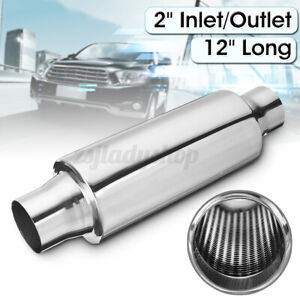 2'' Exhaust Hotdog Resonator Muffler Glass Pack 12'' Long High Flow Stainless
