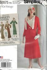 Simplicity D0575 8247 1930's Vtg Dress & Jacket Cowl Neckline Sz 14-22 New