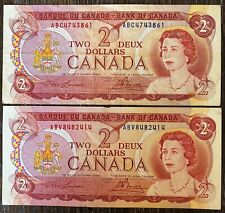 Lot of 2x 1974 Bank of Canada $2 Two Dollar Banknotes