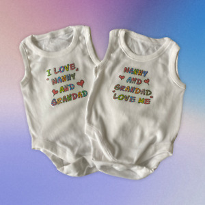 Baby Vests. Set of 2. 'Nanny and Grandad Love Me' and 'I Love Nanny and Grandad'