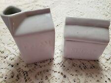 Fitz & Floyd Cream And Sugar Everyday White Ceramic Milk Carton Bag Kitchen Farm
